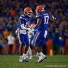 Florida Gators linebacker Mohamoud Diabate (11) and Florida Gators defensive lineman Zachary Carter (17) celebrating as the Gators hosted and defeated the Florida State Seminoles 40-17 at Ben Hill Griffin Stadium in Gainesville, Florida on November 30th, 2019 (Photo by David Bowie/Gatorcountry)