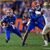 Florida Gators wide receiver Freddie Swain (16) catches a pass for a first down as the Gators hosted and defeated the Florida State Seminoles 40-17 at Ben Hill Griffin Stadium in Gainesville, Florida on November 30th, 2019 (Photo by David Bowie/Gatorcountry)