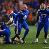 Florida Gators linebacker James Houston IV (41) celebrates after a sack as the Gators hosted and defeated the Florida State Seminoles 40-17 at Ben Hill Griffin Stadium in Gainesville, Florida on November 30th, 2019 (Photo by David Bowie/Gatorcountry)