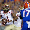 Florida State Seminoles quarterback James Blackman (1) passing as the Gators hosted and defeated the Florida State Seminoles 40-17 at Ben Hill Griffin Stadium in Gainesville, Florida on November 30th, 2019 (Photo by David Bowie/Gatorcountry)