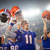 Florida Gators quarterback Kyle Trask (11) as the Gators celebrate defeating the Florida State Seminoles 40-17 at Ben Hill Griffin Stadium in Gainesville, Florida on November 30th, 2019 (Photo by David Bowie/Gatorcountry)