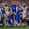 Florida Gators quarterback Kyle Trask (11) celebrates after a first down as the Gators hosted and defeated the Florida State Seminoles 40-17 at Ben Hill Griffin Stadium in Gainesville, Florida on November 30th, 2019 (Photo by David Bowie/Gatorcountry)