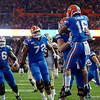 Florida Gators wide receiver Freddie Swain (16) catches a pass and runs into the endzone as the Gators hosted and defeated the Florida State Seminoles 40-17 at Ben Hill Griffin Stadium in Gainesville, Florida on November 30th, 2019 (Photo by David Bowie/Gatorcountry)