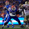 Florida Gators quarterback Kyle Trask (11) looks downfield as the Gators hosted and defeated the Florida State Seminoles 40-17 at Ben Hill Griffin Stadium in Gainesville, Florida on November 30th, 2019 (Photo by David Bowie/Gatorcountry)
