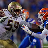 Florida State Seminoles offensive lineman Brady Scott (59) as the Gators hosted and defeated the Florida State Seminoles 40-17 at Ben Hill Griffin Stadium in Gainesville, Florida on November 30th, 2019 (Photo by David Bowie/Gatorcountry)