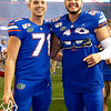 Florida Gators place kicker Chris Howard (71) and Florida Gators long snapper Brett DioGuardi (48) as the Gators celebrate defeating the Florida State Seminoles 40-17 at Ben Hill Griffin Stadium in Gainesville, Florida on November 30th, 2019 (Photo by David Bowie/Gatorcountry)