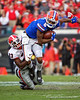 Florida Gators wide receiver Trevon Grimes (8) catches a pass and is tackled by Georgia Bulldogs defensive back Mark Webb (23) as the #6 Gators lose to the #6 Georgia Bulldogs 24-17 at TIAA Bank Field in Jacksonville, Florida on November 2nd, 2019 (Photo by David Bowie/Gatorcountry)