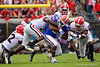 Florida Gators running back Lamical Perine (2) is tackled by Georgia Bulldogs defensive back Richard LeCounte (2) as the #6 Gators lose to the #6 Georgia Bulldogs 24-17 at TIAA Bank Field in Jacksonville, Florida on November 2nd, 2019 (Photo by David Bowie/Gatorcountry)