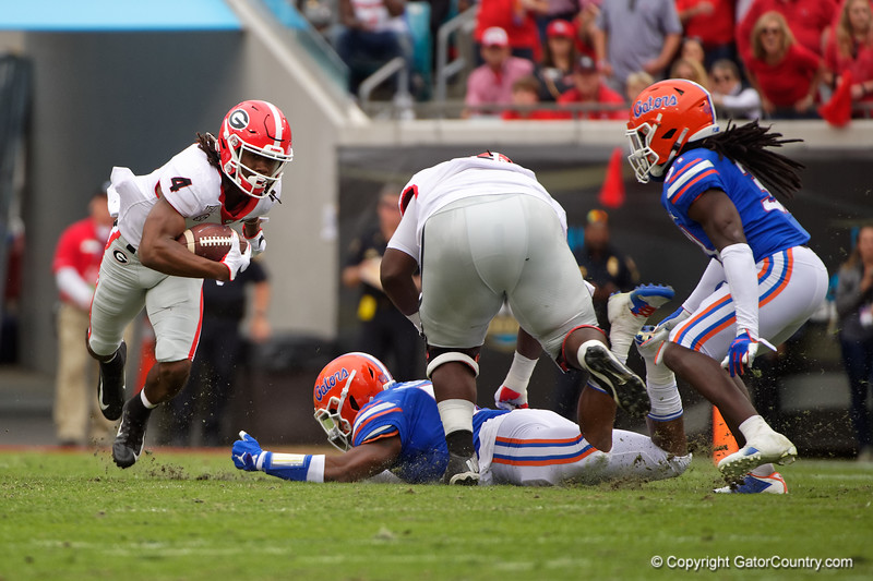 Georgia Bulldogs running back James Cook (4) as the #6 Gators lose to the #6 Georgia Bulldogs 24-17 at TIAA Bank Field in Jacksonville, Florida on November 2nd, 2019 (Photo by David Bowie/Gatorcountry)
