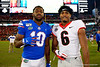 Florida Gators wide receiver Josh Hammond (10) and Georgia Bulldogs running back Kenny McIntosh (6) after the game as the #6 Gators lose to the #6 Georgia Bulldogs 24-17 at TIAA Bank Field in Jacksonville, Florida on November 2nd, 2019 (Photo by David Bowie/Gatorcountry)