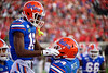 Florida Gators wide receiver Van Jefferson (12) and Florida Gators tight end Kyle Pitts (84) celebrate after a touchdown from Jefferson as the #6 Gators lose to the #6 Georgia Bulldogs 24-17 at TIAA Bank Field in Jacksonville, Florida on November 2nd, 2019 (Photo by David Bowie/Gatorcountry)