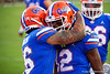 Florida Gators wide receiver Van Jefferson (12) and Florida Gators wide receiver Freddie Swain (16) celebrate after a touchdown from Jefferson as the #6 Gators lose to the #6 Georgia Bulldogs 24-17 at TIAA Bank Field in Jacksonville, Florida on November 2nd, 2019 (Photo by David Bowie/Gatorcountry)