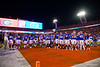 The Florida Gators gather in the end zone after the game as the #6 Gators lose to the #6 Georgia Bulldogs 24-17 at TIAA Bank Field in Jacksonville, Florida on November 2nd, 2019 (Photo by David Bowie/Gatorcountry)