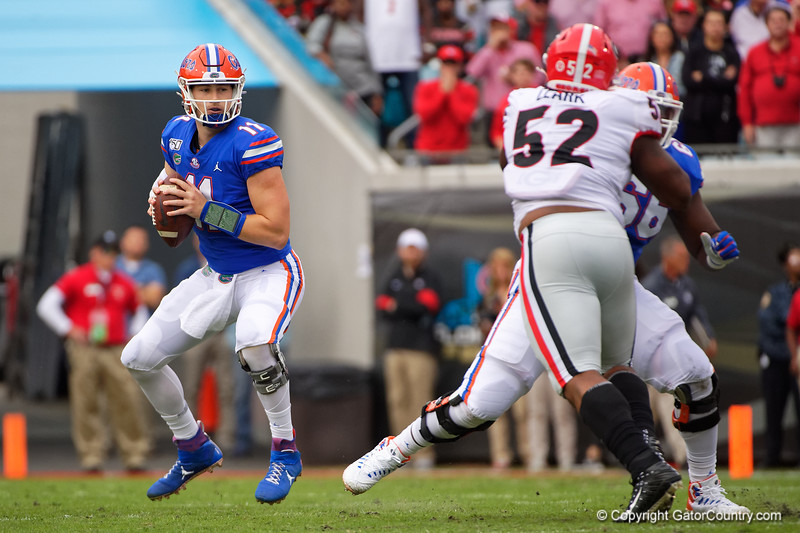 Florida Gators quarterback Kyle Trask (11) as the #6 Gators lose to the #6 Georgia Bulldogs 24-17 at TIAA Bank Field in Jacksonville, Florida on November 2nd, 2019 (Photo by David Bowie/Gatorcountry)