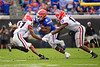 Florida Gators running back Lamical Perine (2) rushing as the #6 Gators lose to the #6 Georgia Bulldogs 24-17 at TIAA Bank Field in Jacksonville, Florida on November 2nd, 2019 (Photo by David Bowie/Gatorcountry)