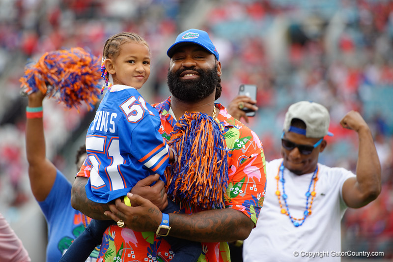 Former Florida Gators linebacker Brandon Spikes is inducted into the Florida-Georgia Hall of Fame during pregame as the #6 prepare to take on the #6 Georgia Bulldogs at TIAA Bank Field in Jacksonville, Florida on November 2nd, 2019 (Photo by David Bowie/Gatorcountry)