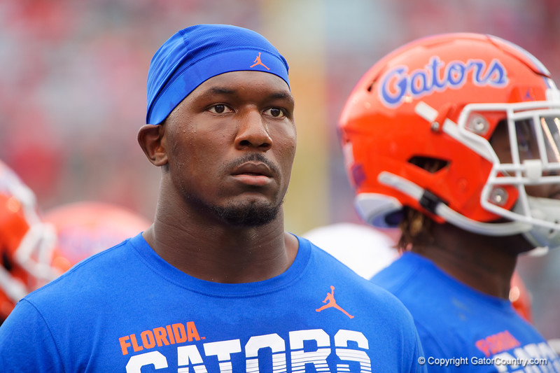Florida Gators defensive lineman Zachary Carter (17) during pregame as the #6 prepare to take on the #6 Georgia Bulldogs at TIAA Bank Field in Jacksonville, Florida on November 2nd, 2019 (Photo by David Bowie/Gatorcountry)