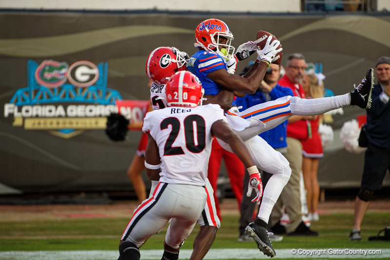 Florida Gators wide receiver Van Jefferson (12) catches a pass for a touchdown as the #6 Gators lose to the #6 Georgia Bulldogs 24-17 at TIAA Bank Field in Jacksonville, Florida on November 2nd, 2019 (Photo by David Bowie/Gatorcountry)