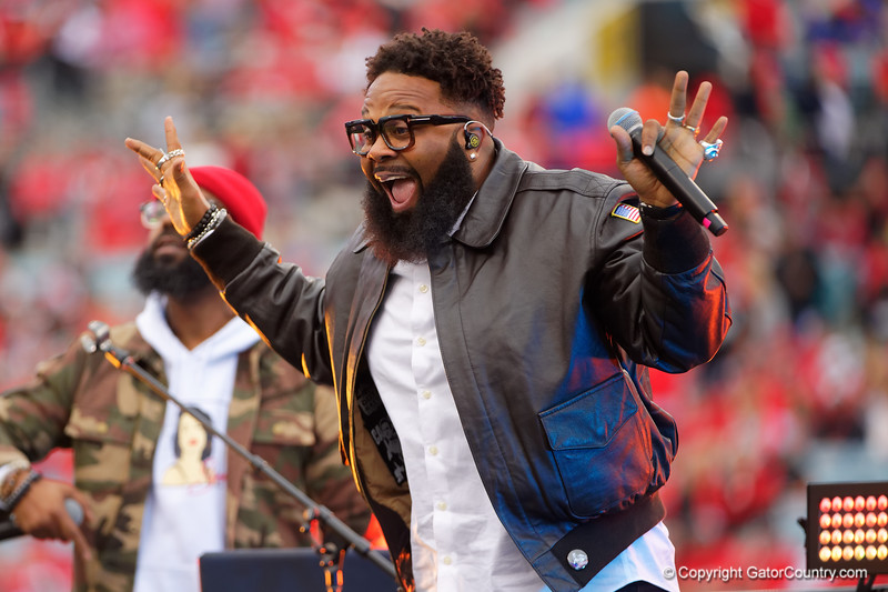 Rapper Blanco Brown performs during pregame as the #6 prepare to take on the #6 Georgia Bulldogs at TIAA Bank Field in Jacksonville, Florida on November 2nd, 2019 (Photo by David Bowie/Gatorcountry)