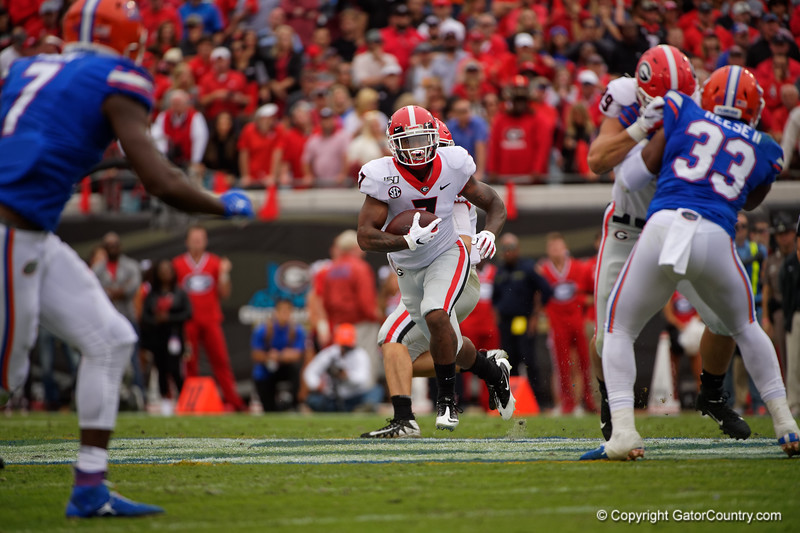 Georgia Bulldogs running back D'Andre Swift (7) rushing as the #6 Gators lose to the #6 Georgia Bulldogs 24-17 at TIAA Bank Field in Jacksonville, Florida on November 2nd, 2019 (Photo by David Bowie/Gatorcountry)