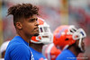 Florida Gators wide receiver Trevon Grimes (8) during pregame as the #6 prepare to take on the #6 Georgia Bulldogs at TIAA Bank Field in Jacksonville, Florida on November 2nd, 2019 (Photo by David Bowie/Gatorcountry)