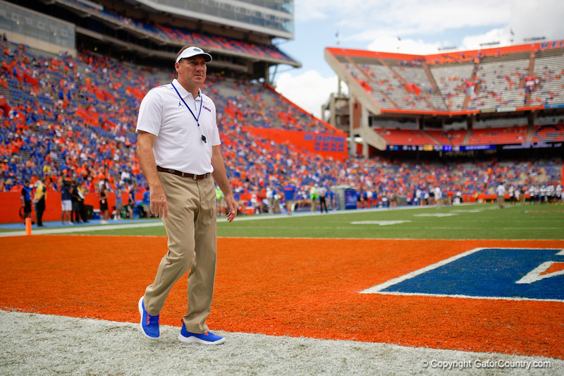 Florida Gators head coach Dan Mullen as the Gators defeat the Towson Tigers 38-0 at Ben Hill Griffin Stadium in Gainesville, Florida on September 28th, 2019 (Photo by David Bowie/Gatorcountry)