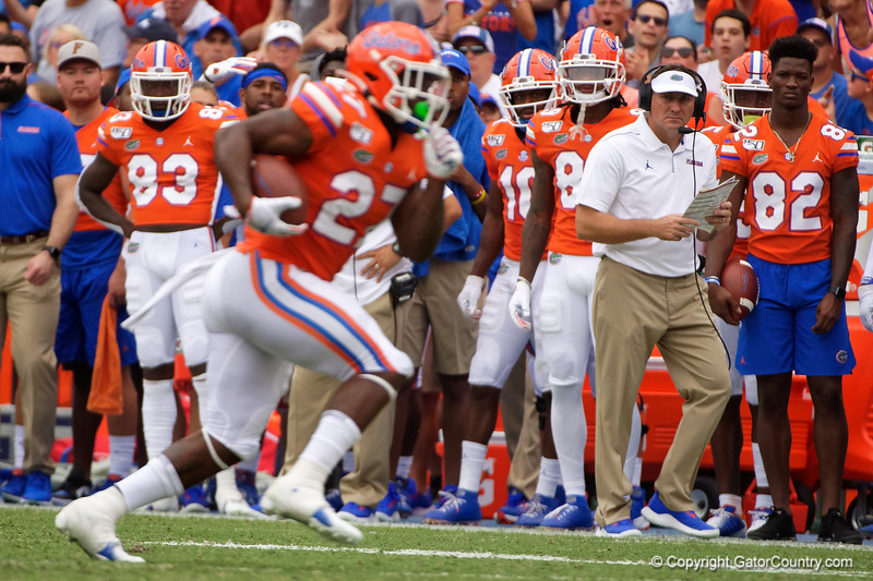 Florida Gators head coach Dan Mullen watches on as the Gators defeat the Towson Tigers 38-0 at Ben Hill Griffin Stadium in Gainesville, Florida on September 28th, 2019 (Photo by David Bowie/Gatorcountry)