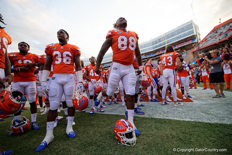 Florida Gators defensive lineman Adam Shuler (88) as the Gators defeat the Towson Tigers 38-0 at Ben Hill Griffin Stadium in Gainesville, Florida on September 28th, 2019 (Photo by David Bowie/Gatorcountry)