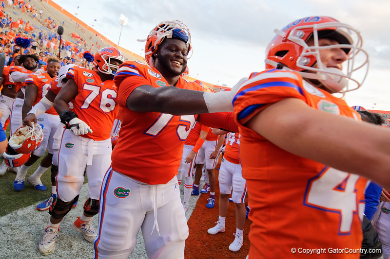 Florida Gators offensive lineman T.J. Moore (75) as the Gators defeat the Towson Tigers 38-0 at Ben Hill Griffin Stadium in Gainesville, Florida on September 28th, 2019 (Photo by David Bowie/Gatorcountry)