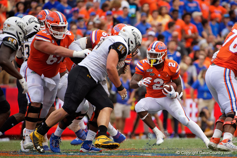 Florida Gators running back Lamical Perine (2) rushing as the Gators defeat the Towson Tigers 38-0 at Ben Hill Griffin Stadium in Gainesville, Florida on September 28th, 2019 (Photo by David Bowie/Gatorcountry)