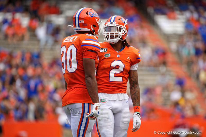Florida Gators defensive back Brad Stewart Jr. (2) and Florida Gators defensive back Amari Burney (30) as the Gators defeat the Towson Tigers 38-0 at Ben Hill Griffin Stadium in Gainesville, Florida on September 28th, 2019 (Photo by David Bowie/Gatorcountry)