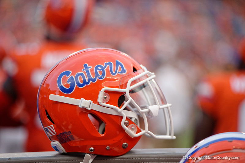 A Florida Gators helmet as the Gators defeat the Towson Tigers 38-0 at Ben Hill Griffin Stadium in Gainesville, Florida on September 28th, 2019 (Photo by David Bowie/Gatorcountry)