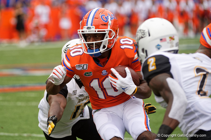 Florida Gators wide receiver Josh Hammond (10) as the Gators defeat the Towson Tigers 38-0 at Ben Hill Griffin Stadium in Gainesville, Florida on September 28th, 2019 (Photo by David Bowie/Gatorcountry)