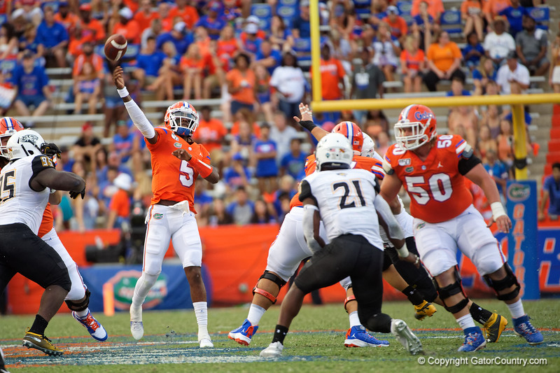 Florida Gators quarterback Emory Jones (5) throwing as the Gators defeat the Towson Tigers 38-0 at Ben Hill Griffin Stadium in Gainesville, Florida on September 28th, 2019 (Photo by David Bowie/Gatorcountry)