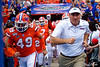 Florida Gators head coach Dan Mullen and the Gators take the field as the Gators defeat the Towson Tigers 38-0 at Ben Hill Griffin Stadium in Gainesville, Florida on September 28th, 2019 (Photo by David Bowie/Gatorcountry)