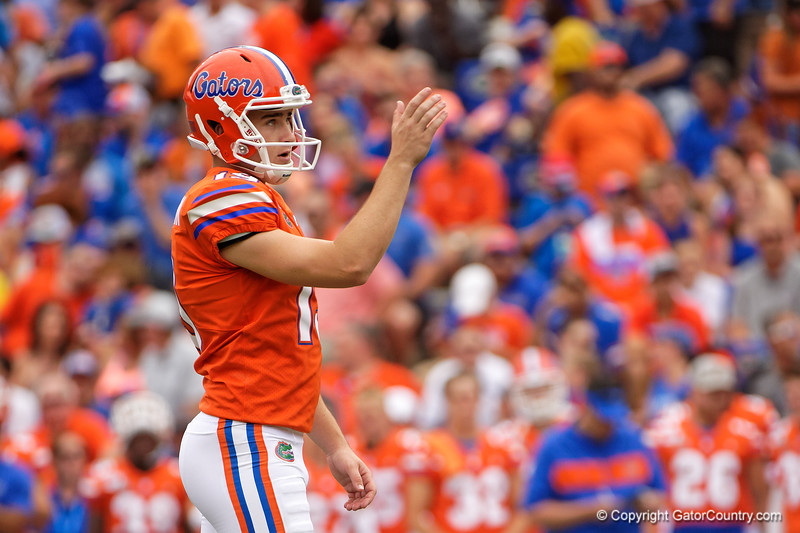 Florida Gators place kicker Evan McPherson (19) kicks in a field goal to make it 10-0 as the Gators defeat the Towson Tigers 38-0 at Ben Hill Griffin Stadium in Gainesville, Florida on September 28th, 2019 (Photo by David Bowie/Gatorcountry)