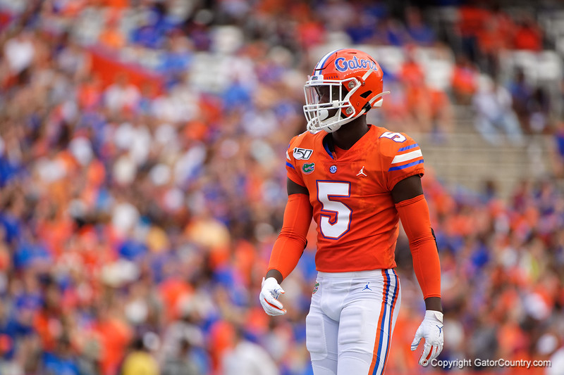 Florida Gators defensive back Kaiir Elam (5) as the Gators defeat the Towson Tigers 38-0 at Ben Hill Griffin Stadium in Gainesville, Florida on September 28th, 2019 (Photo by David Bowie/Gatorcountry)