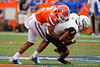 Florida Gators defensive back Brad Stewart Jr. (2) tackling Towson Tigers wide receiver Darian Street (9) as the Gators defeat the Towson Tigers 38-0 at Ben Hill Griffin Stadium in Gainesville, Florida on September 28th, 2019 (Photo by David Bowie/Gatorcountry)