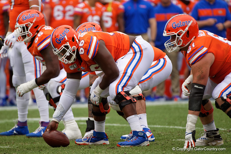 Florida Gators offensive lineman Nick Buchanan (66) lines up as the Gators defeat the Towson Tigers 38-0 at Ben Hill Griffin Stadium in Gainesville, Florida on September 28th, 2019 (Photo by David Bowie/Gatorcountry)