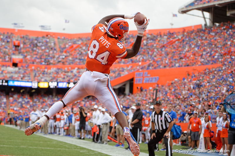 Florida Gators tight end Kyle Pitts (84) leaps into the air for a touchdown as the Gators defeat the Towson Tigers 38-0 at Ben Hill Griffin Stadium in Gainesville, Florida on September 28th, 2019 (Photo by David Bowie/Gatorcountry)