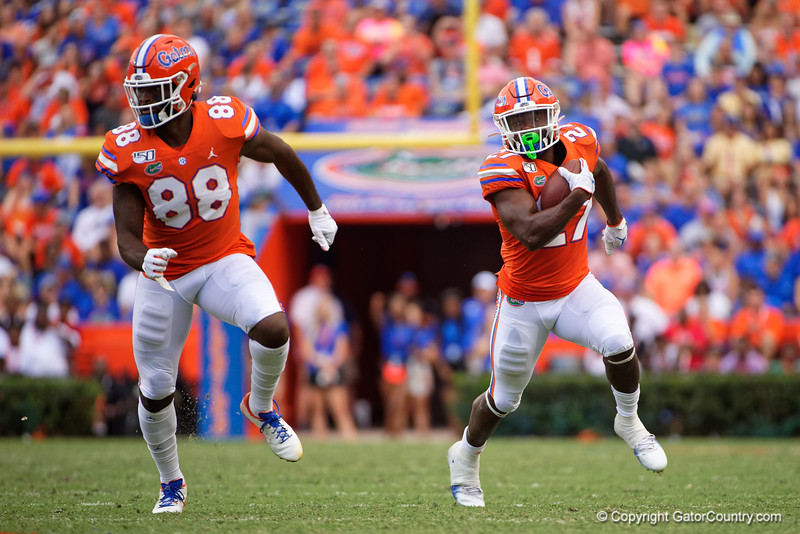 Florida Gators running back Dameon Pierce (27) rushes into the endzone for a touchdown as the Gators defeat the Towson Tigers 38-0 at Ben Hill Griffin Stadium in Gainesville, Florida on September 28th, 2019 (Photo by David Bowie/Gatorcountry)
