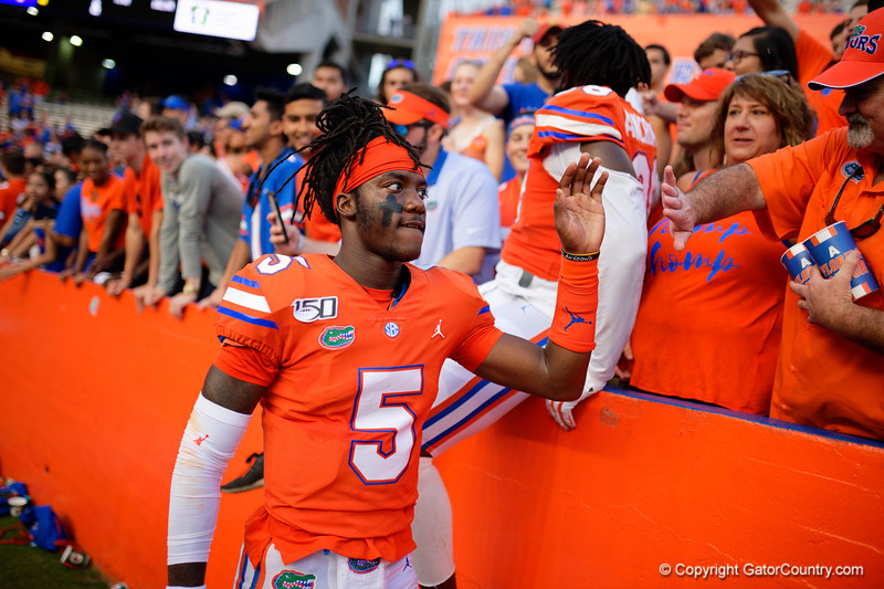 Florida Gators quarterback Emory Jones (5) as the Gators defeat the Towson Tigers 38-0 at Ben Hill Griffin Stadium in Gainesville, Florida on September 28th, 2019 (Photo by David Bowie/Gatorcountry)