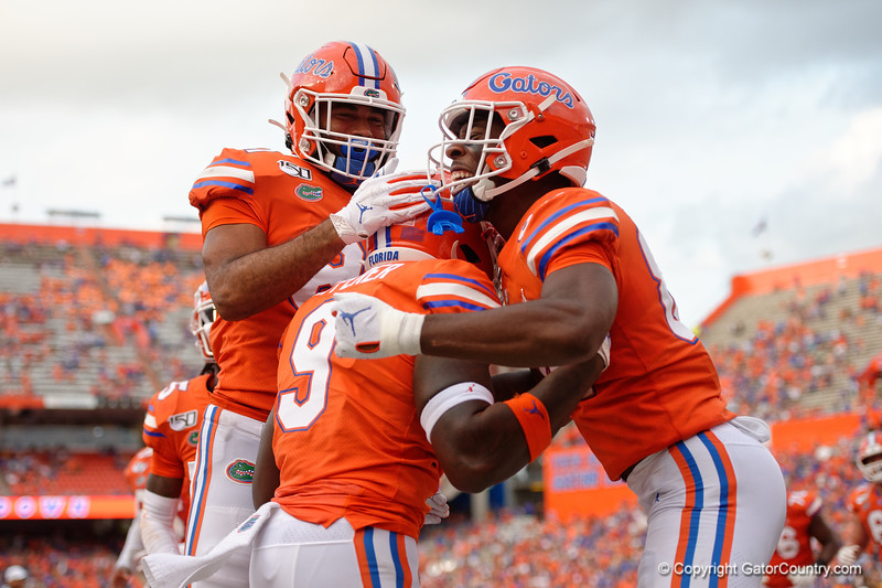 Florida Gators tight end Keon Zipperer (9) gets his first touchdown as a Gator as the Gators defeat the Towson Tigers 38-0 at Ben Hill Griffin Stadium in Gainesville, Florida on September 28th, 2019 (Photo by David Bowie/Gatorcountry)