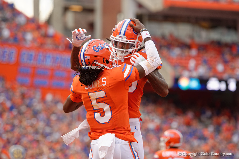 Florida Gators quarterback Emory Jones (5) and Florida Gators wide receiver Tyrie Cleveland (89) as the Gators defeat the Towson Tigers 38-0 at Ben Hill Griffin Stadium in Gainesville, Florida on September 28th, 2019 (Photo by David Bowie/Gatorcountry)