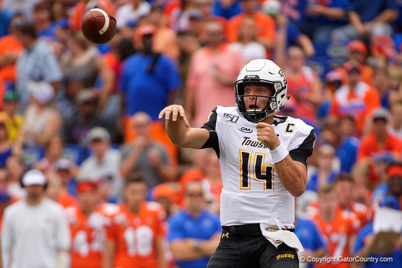 Towson Tigers quarterback Tom Flacco (14) passing as the Gators defeat the Towson Tigers 38-0 at Ben Hill Griffin Stadium in Gainesville, Florida on September 28th, 2019 (Photo by David Bowie/Gatorcountry)