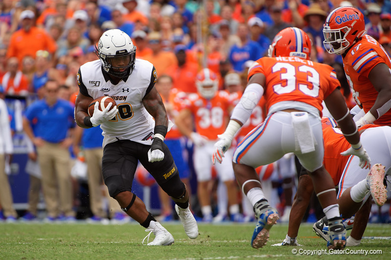 Towson Tigers running back Yeedee Thaenrat (28) rushing as the Gators defeat the Towson Tigers 38-0 at Ben Hill Griffin Stadium in Gainesville, Florida on September 28th, 2019 (Photo by David Bowie/Gatorcountry)