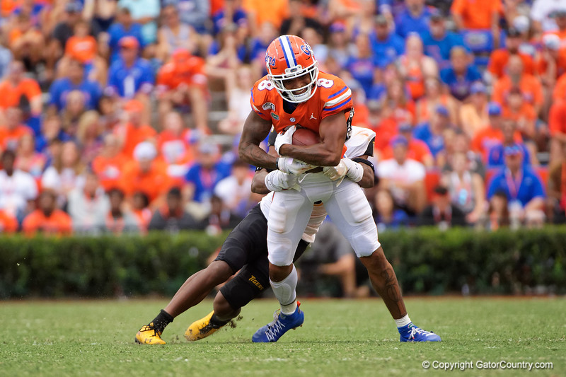 Florida Gators wide receiver Trevon Grimes (8) as the Gators defeat the Towson Tigers 38-0 at Ben Hill Griffin Stadium in Gainesville, Florida on September 28th, 2019 (Photo by David Bowie/Gatorcountry)