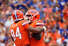 Florida Gators tight end Kyle Pitts (84) and Florida Gators offensive lineman Brett Heggie (61) as the Gators defeat the Towson Tigers 38-0 at Ben Hill Griffin Stadium in Gainesville, Florida on September 28th, 2019 (Photo by David Bowie/Gatorcountry)