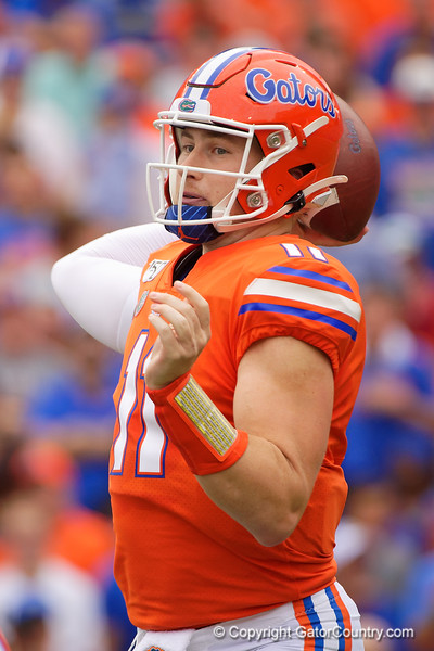 Florida Gators quarterback Kyle Trask (11) passing as the Gators defeat the Towson Tigers 38-0 at Ben Hill Griffin Stadium in Gainesville, Florida on September 28th, 2019 (Photo by David Bowie/Gatorcountry)