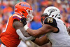 Florida Gators defensive lineman Adam Shuler (88) and Towson Tigers offensive lineman Andrew Garnett (75) battle as the Gators defeat the Towson Tigers 38-0 at Ben Hill Griffin Stadium in Gainesville, Florida on September 28th, 2019 (Photo by David Bowie/Gatorcountry)